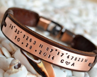 EXPRESS SHIPPING Personalized leather bracelet, Men. Personalized bracelet for men. Copper Mens bracelet. Personalized. Valentine's Day gift