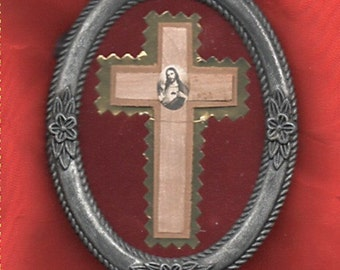 SACRED HEART of JESUS oval framed relic of wood from Paray le Monial with seal St Margaret Mary Apparitions. Free uk and Ireland postage!!!