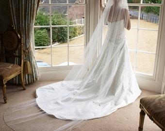 Cathedral Wedding Veil, Long Veil, Royal Veil , Regal Veil, Raw Edge Bridal Veil, Long Simple Veil, White Ivory Blush Champagne