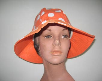 1960's Bright Orange Polka Dot Vinyl Rain Hat!