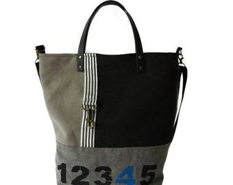 XL shoulder bag, trendy canvas crossover, unique tote bag, cross body bag, adjustable shoulder strap, project bag, roomy bag