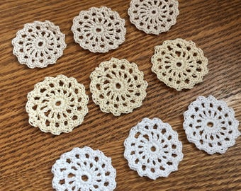Crocheted Mini Doily Button Backer/Junk Journal Embellishments/Scrapbook Embellishment/Planner Pretty