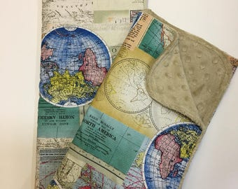World Map Baby Blanket, Gender Neutral Minky Blanket, Nursery Bedding, Wanderlust,World Traveler, Globe, Rand Mcnally Maps, Vintage Maps,