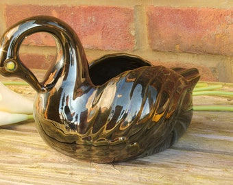 Black Lustre Ware Swan Vase with Opalescent Yellow Eye