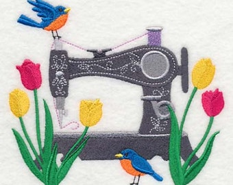 Spring in a Stitch, Embroidered flour sack towel, tea towel, hand towel or dish towel. New colored towels