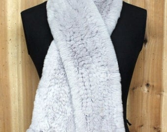Rabbit Fur Knitted Scarf with Pom Pom Detail
