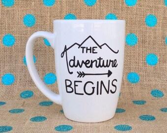 New Grad Coffee Mug - Retirement Coffee Mug - The Adventure Begins - Hand Painted Coffee Mug - Graduation Gift - Retirement Mug - Retirement