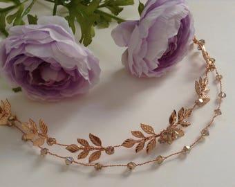 Boho Bridal Rose Gold Hair Vine, Laurel Leaf Hair Halo, Sash Belt, Rose Gold Headpiece, Double Single, Wedding Halo, Bridal Headpiece 1(RG)