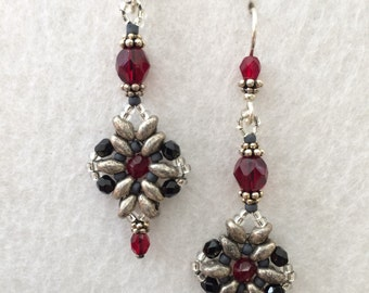 Red , Black and Silver Gothic Vintage Beaded Crystal Earrings