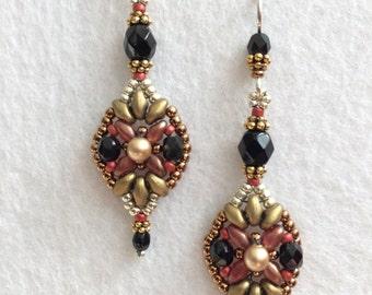Vintage Inspired Black Jet Crystal and Pearl Beaded Earrings