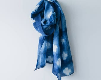 Positive Vibes Shibori scarf