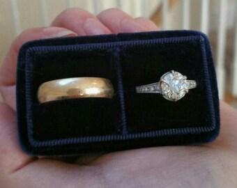 His & Hers - Handmade - Vintage Inspired Velvet Double Ring Box - Engagement and Wedding Ring Set Holder