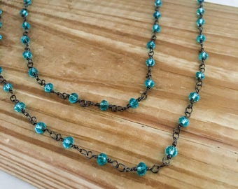 Aqua beaded necklace, aqua necklace, blue beaded necklace, blue necklace, necklace blue, blue link necklace, blue chain necklace