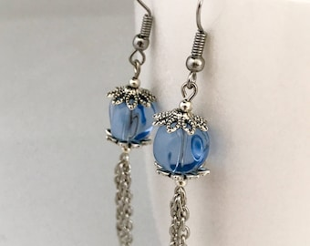 Blue dangle earrings, blue earrings, earrings blue, blue chain earrings, blue bead earrings, blue drop earrings, blue beaded earrings