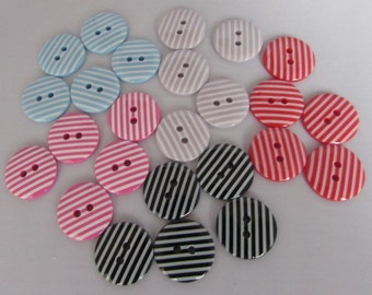 Pack of 5 Striped Buttons