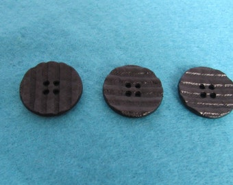 Black Ripple Effect Coat Button 23mm