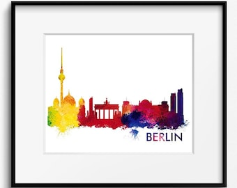 Berlin Skyline Watercolor Art Print (654) Cityscape Germany Europe