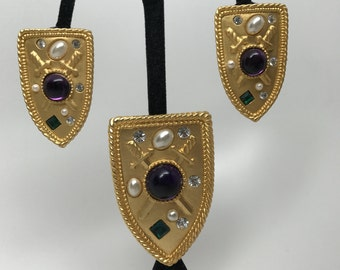 Vintage Rhinestone Purple Cabochon, Faux Pearl Park Lane Earrings & Brooch Set