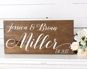 Bridal Shower Gift - Gift For Bride - Wedding Signs - Engagement Gift - Rustic Wedding - Woodland Wedding - Wedding Gift- Family Name Sign