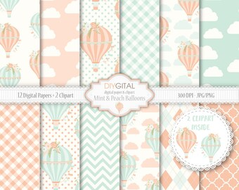Mint and Peach hot air balloons- 12 digital papers with floral hot air balloons, clouds, chevron- Two clipart inside-Baby shower backgrounds