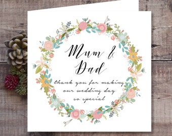 Vintage Garland Floral Wedding Thank You Card for Parents, Mum and Dad, Mom, Mam, Dad, Pop