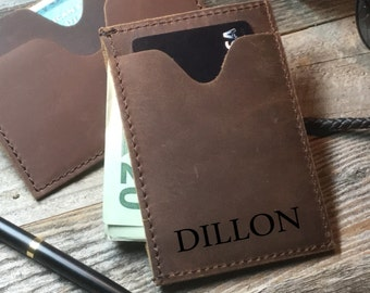 Personalized Cowhide money clip, personalized Wallet, Leather card wallet, Personalized cowhide leather money clip, crazy horse money clip