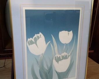 SALE Vintage 1980's Tulips Embossed Serigraph Print by David Allgood Signed with Certificate of Authenticity in glass framed 22x28