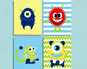 Set of 4 Nursery Monster wall art,monsters, prints,monsters wall hanging baby boy art,monster crib bedding,blue-lime-red-yellow monsters art