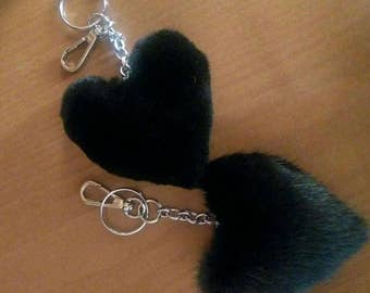 Spring offer! Buy TWO and get a THIRD one for free!Beautiful BLACK Hearts-Keychains from Real Mink fur!