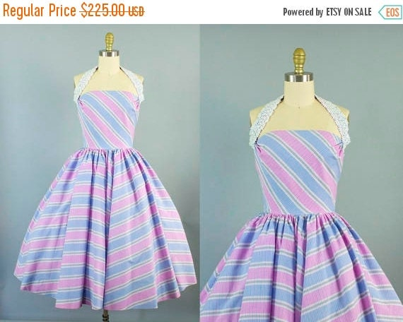 SALE 15% STOREWIDE 1950s cotton striped halter dress/ 50s pink and purple sundress/ small