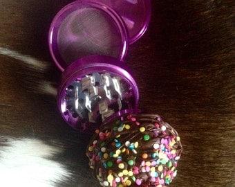 """2.5"""" Purple Chromium Crusher Chocolate Cupcake Cute Girly Herb Grinder"""