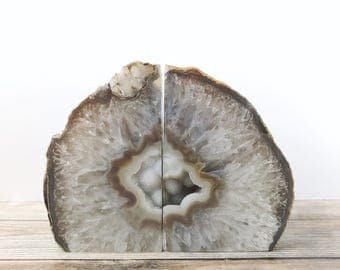 Agate Bookends Geode Bookends - Natural Agate Book Ends Natural Geode Book Ends Gray and Brown
