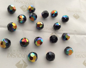 Swarovski #5000 Crystal Jet Black AB Round Ball Faceted Beads 4mm 6mm 8mm
