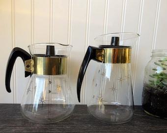Gold Starburst Corning - Pyrex Coffee Carafe's - Set of 2 - Vintage Pyrex Carafe