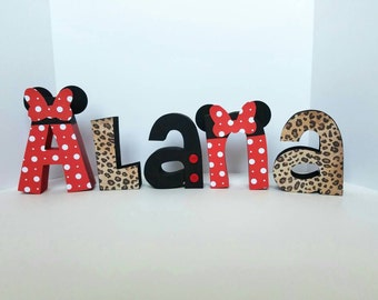 Minnie mouse wood name letters - PRICE PER LETTER - minnie mouse letters - red, black and cheetah print - minnie mouse decor - disney
