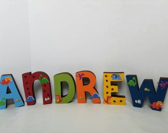 Dinosaur wood name letters - PRICE PER LETTER - dinosaur name - dinosaur decor - dinosaur dinosaur letters - dinosaur party decor