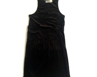 90's Black Velvet Overall Jumper Maxi Dress sz 8