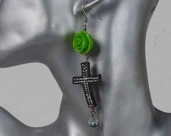 dangle earrings, green rose earrings, cross earrings, pave cross, cabochon rose Goth jewelry, statement earrings, gift for her