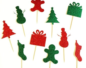 Set of 10 Christmas Cupcake Toppers - Holiday Toppers - Ugly Christmas Sweater Party