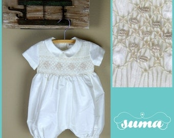 Smocked Bubble Baby Girl Romper With Bonnet Toddler Bubble