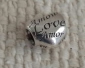 "Authentic Pandora ""Language of Love"" Sterling Silver Bead - PD1000155"