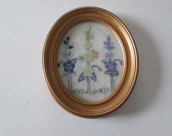 HAND STITCHED FLORAL Art Wall Hanging