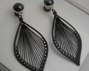 Black Lace Teardrop, black pearl, silver setting  dangle ear plugs, wedding style