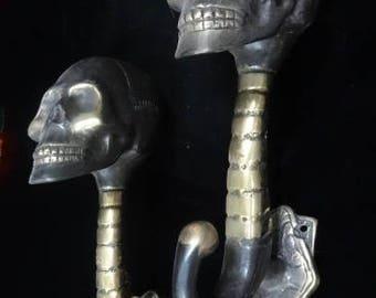 Skull Bronze brass mix Door Handles coat handles Royal Skull Lost Wax Method Elvis Halloween