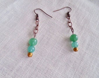 Green Aventurine and Antiqued copper earrings