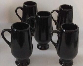 5 Vintage Black Pedestal Demitasse Mugs