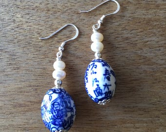 Chinese Porcelain Earrings, Pearl Earrings, Vintage Chinese Blue and White Porcelain Bead from the 80s and Genuine Freshwater Pearl Earrings