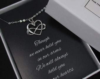 Miscarriage Necklace, Infinity Heart Necklace, Loss of a Child, Infant Loss Jewelry, Sympathy Card, Sterling Silver