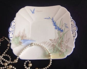 Shelley sandwich plate. Butterfly and Bluebell.