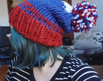 Chicago Cubs inspired baseball slouchy knit beanie, cubbies patriotic sports chunky fair isle hat / Blue Red White